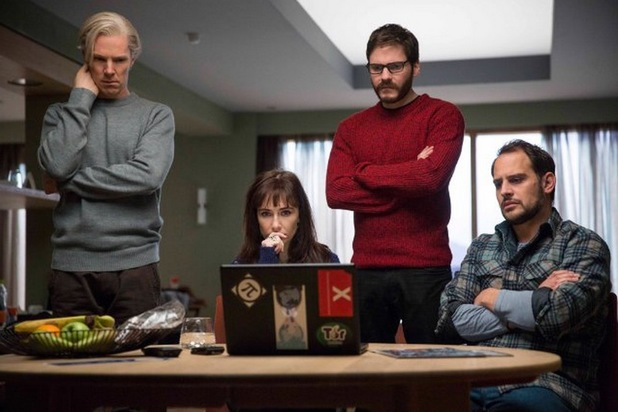 Benedict Cumberbatch, Carice van Houten, Daniel Brühl and Moritz Bleibtreu in 'The Fifth Estate'
