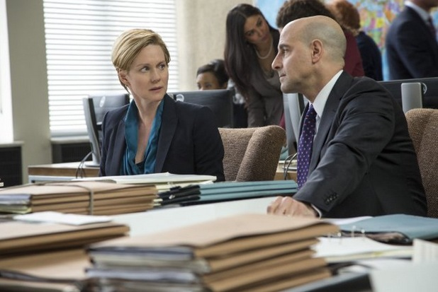 Laura Linney as Sarah Shaw and Stanley Tucci as James Boswell in 'The Fifth Estate'