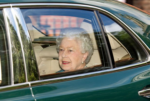 Queen Elizabeth II leaving Kensington Palace after visiting her great grandson for the first time