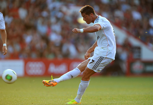 Real Madrid's Cristiano Ronaldo playing against Bournemouth in a friendly