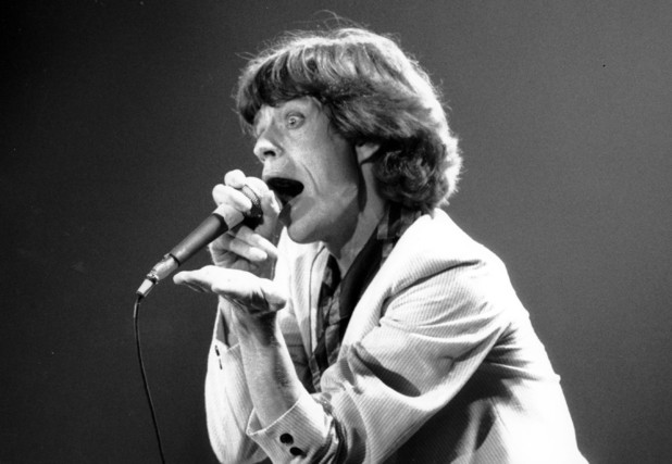 Mick Jagger, lead singer of the Rolling Stones, performs to an audience of 10,000 rock and roll fans at the Lakeland Civic Center in Lakeland, Fla., on June 12, 1978. (AP Photo/Kathy Willens)