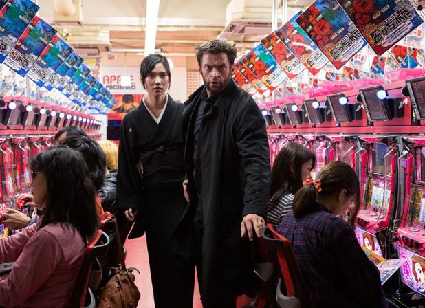 Tao Okamoto and Hugh Jackman as Logan in 'The Wolverine'