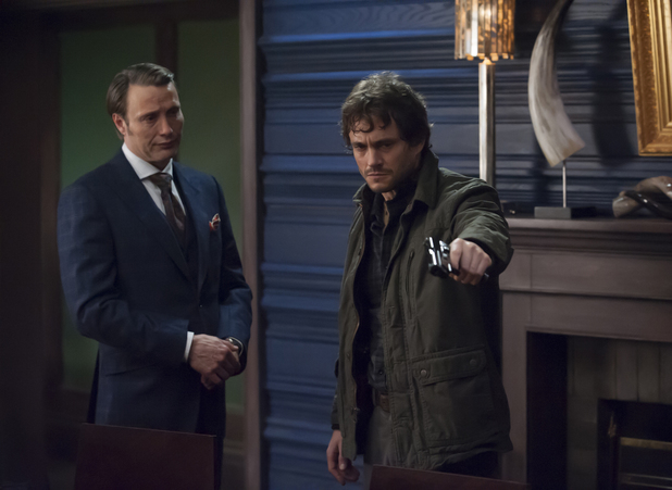 Mads Mikkelsen as Hannibal Lecter and Hugh Dancy as Will Graham in Hannibal
