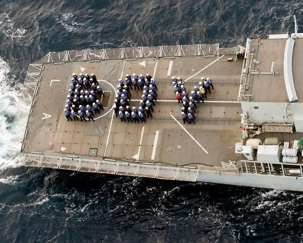 HMS Lancaster celebrates the arrival of the royal baby