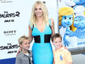 The 'Ooh La La' singer appeared on the blue carpet with her sons at LA premiere.
