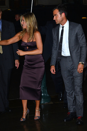 NEW YORK, NY - AUGUST 01: Jennifer Aniston and Justin Theroux attend the 'We're The Millers' New York Premiere after-party at Bryant Park Grill on August 1, 2013 in New York City. (Photo by James Devaney/WireImage)