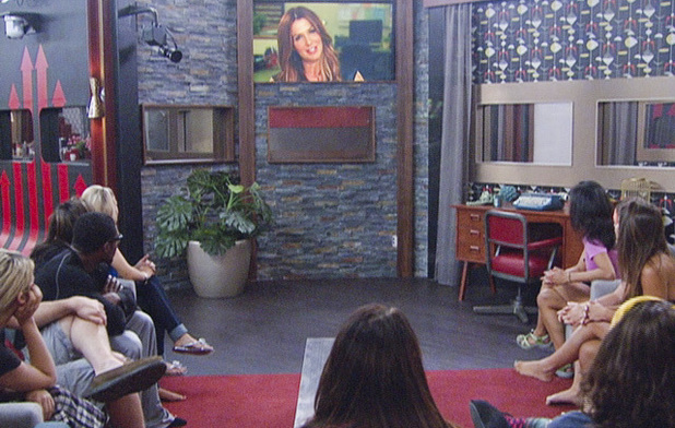 The houseguests listen to Poppy Montegomery