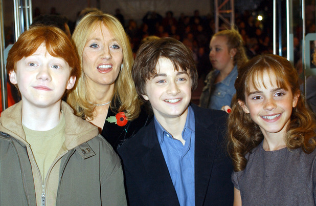 The stars from left to right; Rupert Grint, Daniel Radcliffe and Emma Watson with the author J K Rowling arrive for world premiere of 'Harry Potter and the Philosopher's Stone at the Odeon Leicester Square in London.