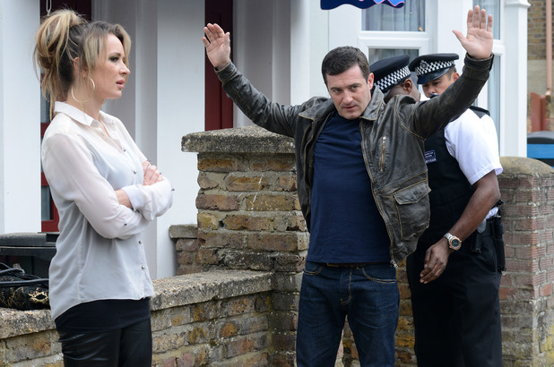 Carl is searched by the police for drugs while Kirsty looks on in disgust.