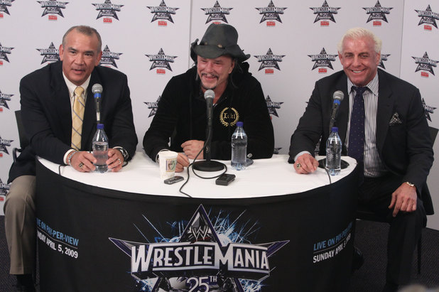 Ricky 'The Dragon' Steamboat and 'Nature Boy' Ric Flair looks on as actor Mickey Rourke discusses his wishes to not get involved in a match with WWE Superstar Chris Jericho during a press conference before WrestleMania 25