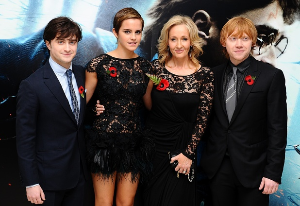 Daniel Radcliffe, Emma Watson, JK Rowling and Rupert Grint arriving for the World Premiere of Harry Potter and The Deathly Hallows : Part One, at the Odeon West End, Leicester Square, London.