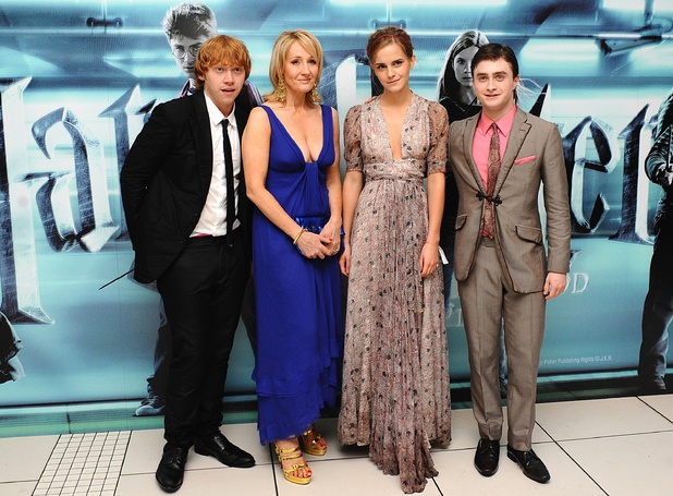 (L-R) Rupert Grint, JK Rowling, Emma Watson and Daniel Radcliffe arriving for the world premiere of Harry Potter and the Half-Blood Prince at the Odeon Leicester Square, London. 2009