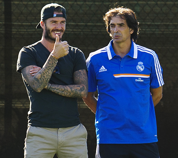 David Beckham joins a training session at UCLA Campus