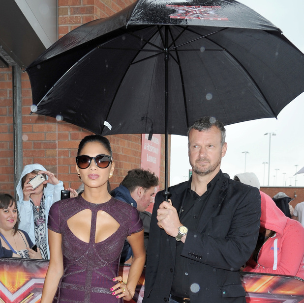 Nicole Scherzinger, The X Factor judges at Old Trafford for day 3 of the Manchester auditions , umbrella