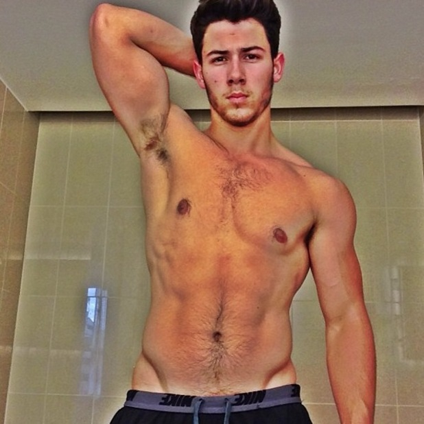 Nick Jonas, shirtless