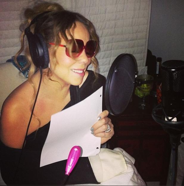 Mariah Carey in the studio