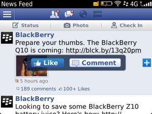 BlackBerry 10 Facebook