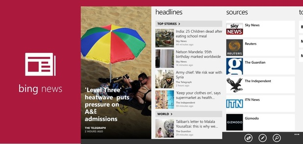 Bing News running on Windows Phone 8