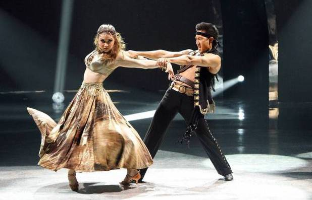 "Jenna Johnson and all-star dancer Alex Wong perform a Paso Doble routine to ""He's A Pirate"" choreographed by Jean-Marc Genereux on 'So You Think You Can Dance'"