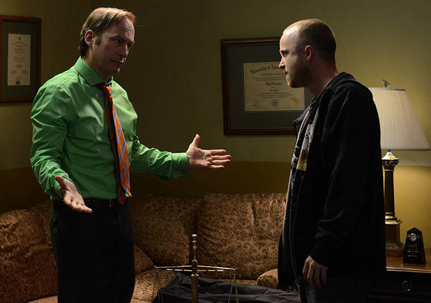 Saul Goodman (Bob Odenkirk) and Jesse Pinkman (Aaron Paul) in Breaking Bad S05E09