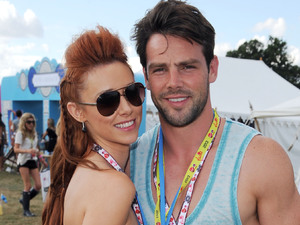 Una Healy and Ben Foden backstage at V Festival.
