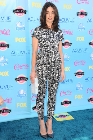 Crystal Reed at the 2013 Teen Awards, Carolina Herrara jumpsuit