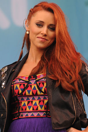 Una Healy of The Saturdays performs on the Virgin Media Stage at Weston Park