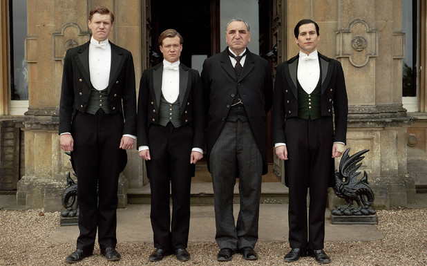 Matt Milne as Alfred, Ed Speleers as Jimmy, Jim Carter as Mr Carson & Rob James-Collier as Thomas in 'Downton Abbey'