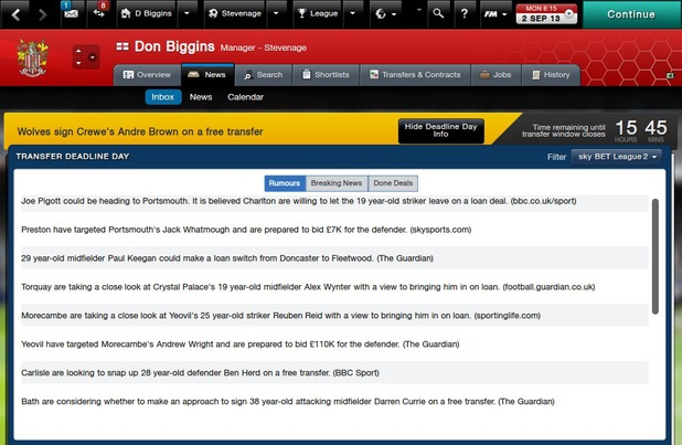 Transfer Deadline Day in Football Manager 2014