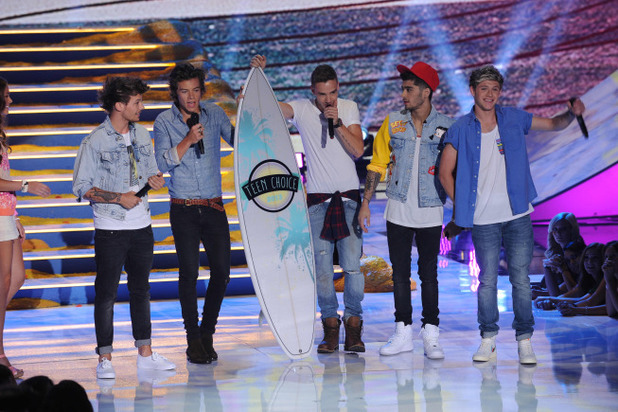 One Direction, winners of Choice Music Group, Choice Single: group and Choice Love Song awards at the Teen Choice Awards 2013