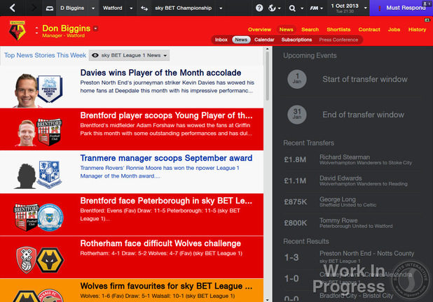 The News Homepage in Football Manager 2014