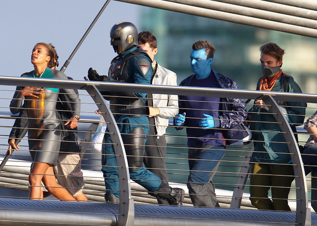 Filming for 'Guardians Of The Galaxy' on the Millennium Bridge, London
