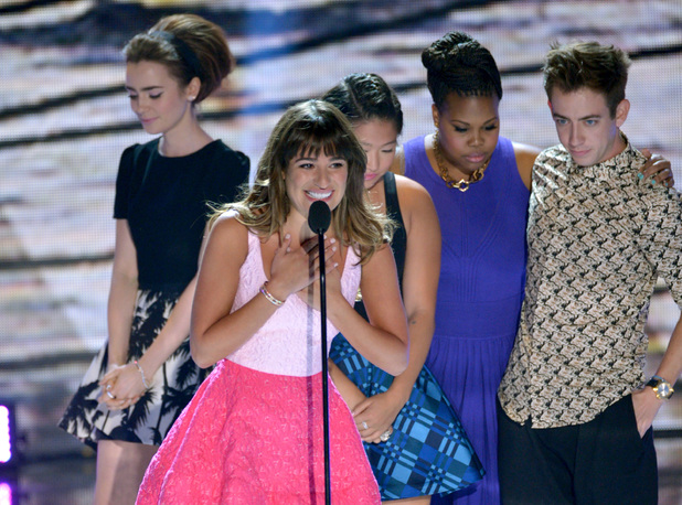 "Lea Michele from ""Glee""speaks on stage as she accepts an award at the Teen Choice Awards 2013"