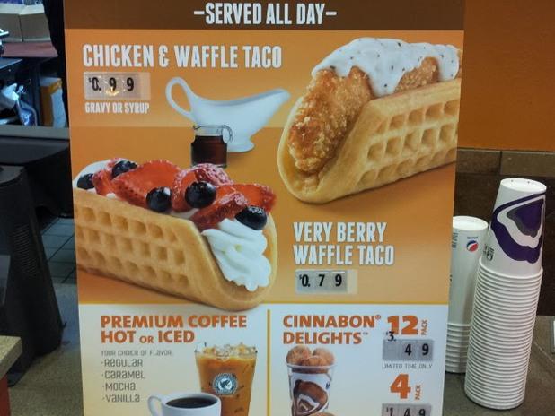 Chicken waffle taco