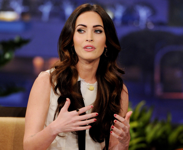 Megan Fox, thumbs, THE TONIGHT SHOW WITH JAY LENO -- Episode 4207 -- Pictured: Actress Megan Fox during an interview on February 27 2012 -- (Photo by: Paul Drinkwater/NBC/NBCU Photo Bank via Getty Images)