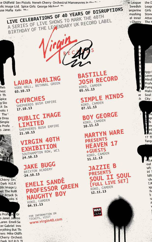 Virgin Records 40th birthday gig lineup
