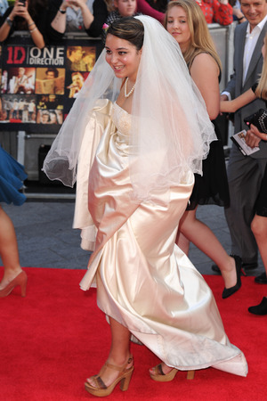 fan in a wedding dress, One Direction: This Is Us' film premiere, London, Britain - 20 Aug 2013