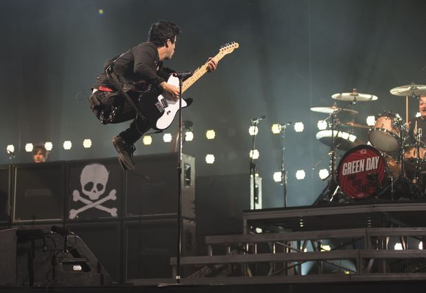 Green Day's Billie in the air
