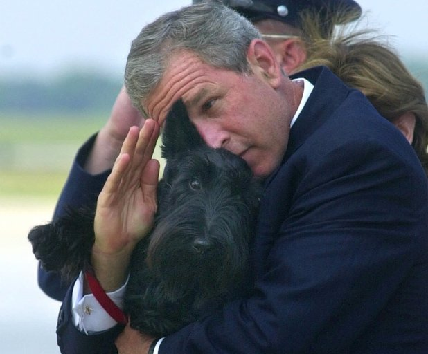 President Bush does his best to salute while holding his dog Barney as they get off of Air Force One at Andrews Air Force Base, Md., Monday, June 25, 2001. Bush spent the afternoon in Detroit for the annual U.S. Conference of Mayors where he called on the mayors support for more faith-based initiatives. (