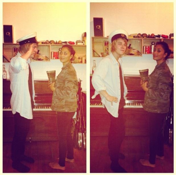 Tom Odell and Nicole Scherzinger in the recording studio.