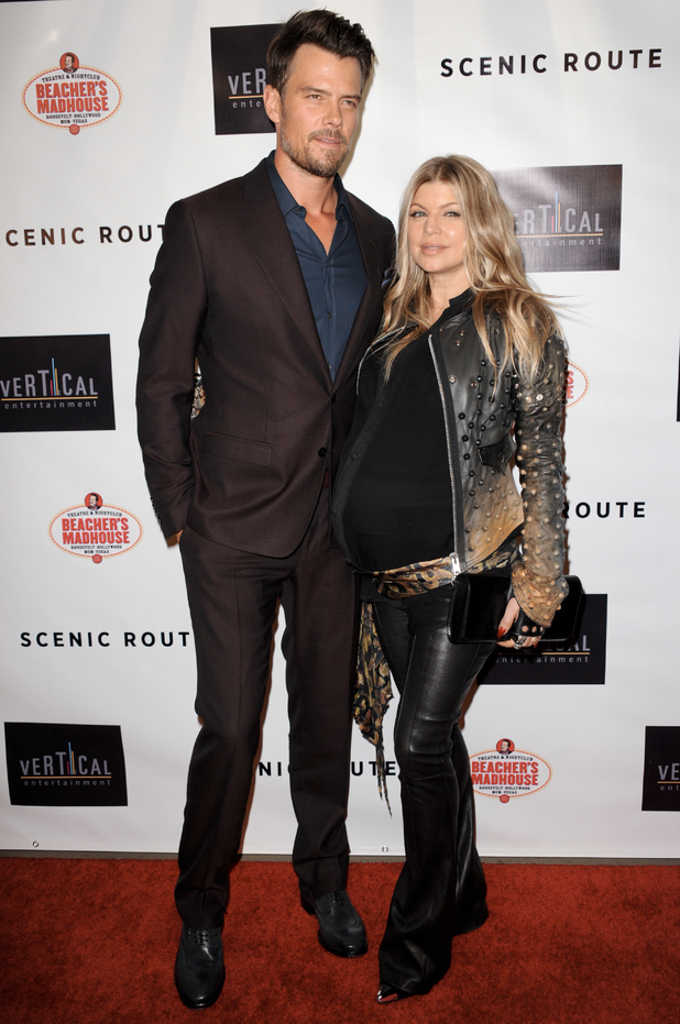 "Josh Duhamel, left and Fergie arrive at the premiere of ""Scenic Route"" at the Chinese 6 Theater on Tuesday, LA"