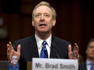Brad Smith, Microsoft's general counsel and executive vice president, Legal and Corporate Affairs, testifies on Capitol Hill in Washington, Monday, April 22, 2013, before the Senate Judiciary Committee hearing on immigration reform.