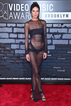 Erin Wasson Givenchy sheer dress and turban at the MTV 2013 VMAs in Brooklyn