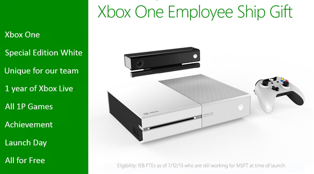 Members of the Xbox One team will reportedly receive an exclusive white console