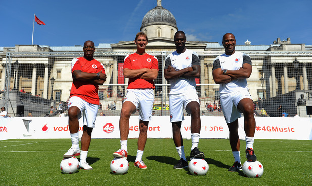 Ian Wright and Tony Adams with Ledley King and Les Ferdinand pose for the camera during the Vodafone 4G Goes Live Launch at Trafalgar Square