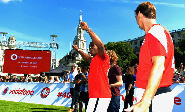 Ian Wright and Tony Adams celebrate their victory during the Vodafone 4G Goes Live Launch at Trafalgar Square