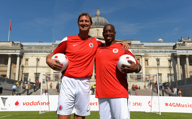 Tony Adams and Ian Wright pose for the camera during the Vodafone 4G Goes Live Launch at Trafalgar Square
