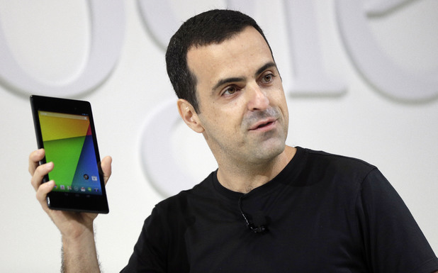 Hugo Barra, vice president Android product management at Google, displays the new Nexus 7 tablet on Wednesday, July 24, 2013, in San Francisco.