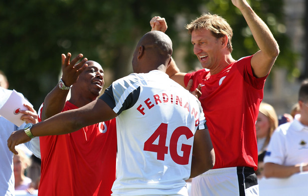 Ian Wright and Tony Adams and Les Ferdinand during the Vodafone 4G Goes Live Launch at Trafalgar Sqaure