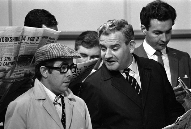 Ronnie Corbett and Ronnie Barker on 'The Frost Report' in 1968